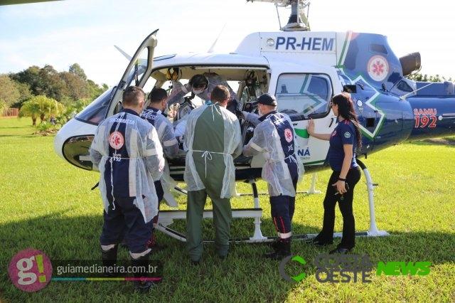 Paciente com meningite é transferido de helicóptero