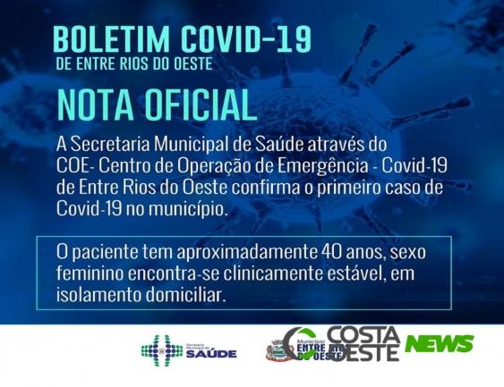 Entre Rios do Oeste confirma primeiro caso de Covid-19
