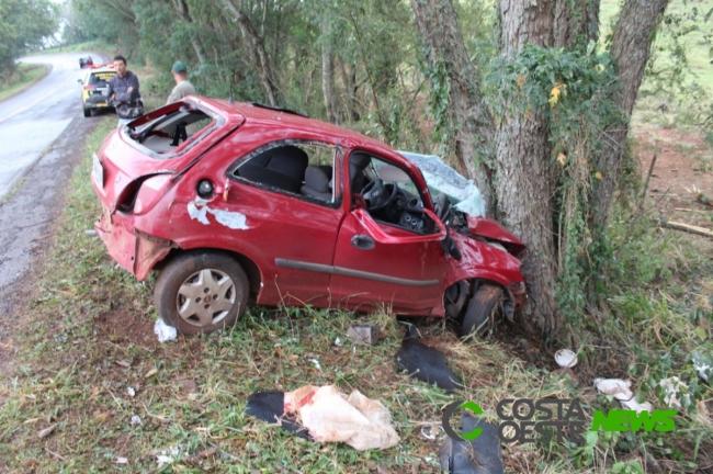 PRE apreende Celta e droga após perseguição entre Santa Helena e São José; condutor morreu