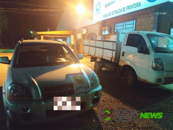 BPFRON apreende veículos com alerta de roubo e placas paraguaias em Entre Rios do Oeste