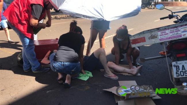 Mulher fica ferida em acidente no centro de Santa Helena