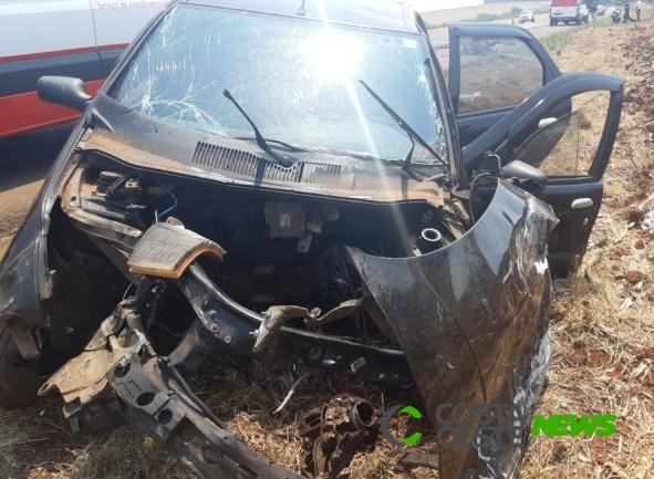 Colisão frontal deixa seis feridos na BR-163 em Guaíra