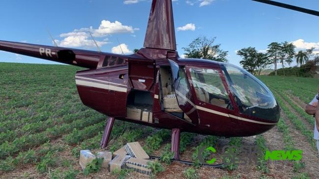 Helicóptero é apreendido com quase 500kg de cocaína no Paraná