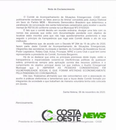 Comitê Emergencial de Santa Helena divulga nota sobre a suspensão do auxílio municipal