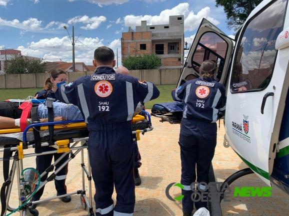 Helicóptero do Consamu realiza transferência de paciente vítima de acidente em Santa Helena