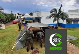 Tiro de Guerra monta barraca para auxiliar o atendimento na Unidade Sentinela da Covid-19