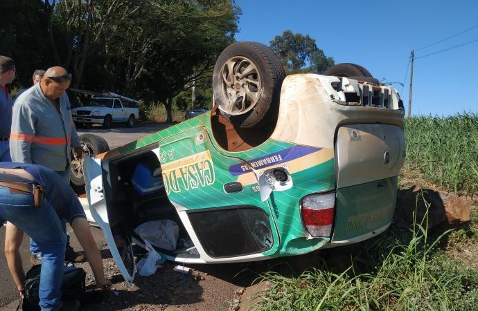 Acidente entre veículos deixa um ferido na PR 495 em Santa Helena