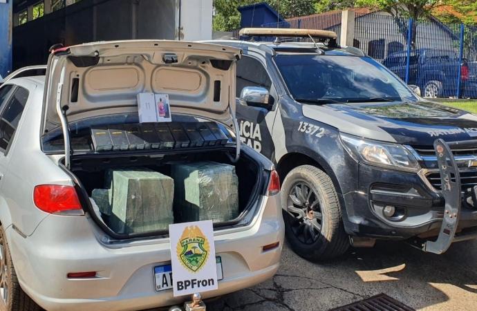 BPFRON apreende contrabando em veículo em São Miguel do Iguaçu