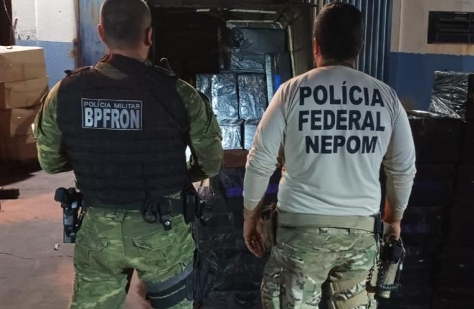 BPFRON e PF apreendem veículo carregado com cigarros em Itaipulândia