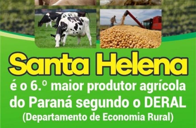 Com R$ 1,3 bilhões, Santa Helena continua sendo a  6ª maior potência agrícola do Paraná