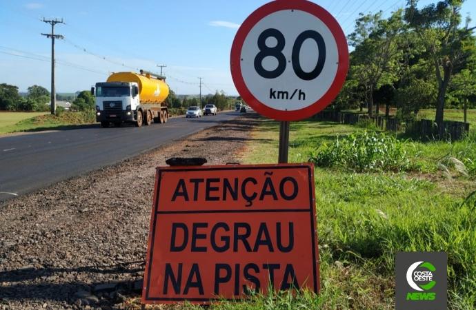 Degrau na pista: manutenção em rodovia de Santa Helena requer atenção redobrada de motoristas
