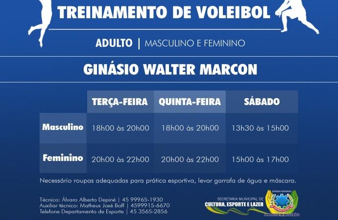 Departamento de Esportes de São Miguel do Iguaçu inicia treinamento de voleibol para adultos
