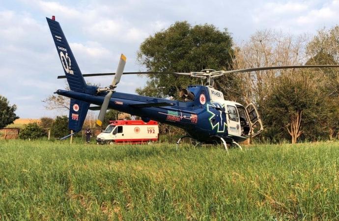 Gravemente ferido após ser agredido em Guaíra, rapaz é transferido de helicóptero