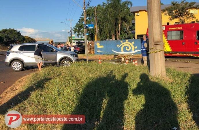 Homem morre em acidente envolvendo carro e moto em Santa Terezinha de Itaipu