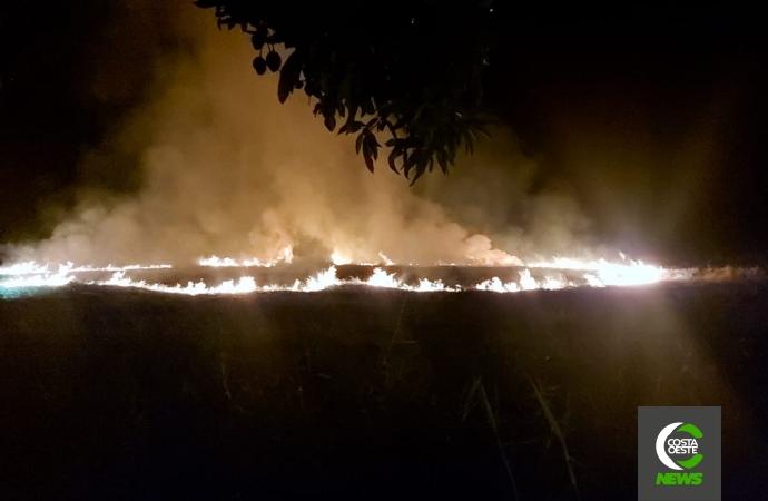 Incêndio em vegetação é registrado no Balneário de Santa Helena; veja o vídeo