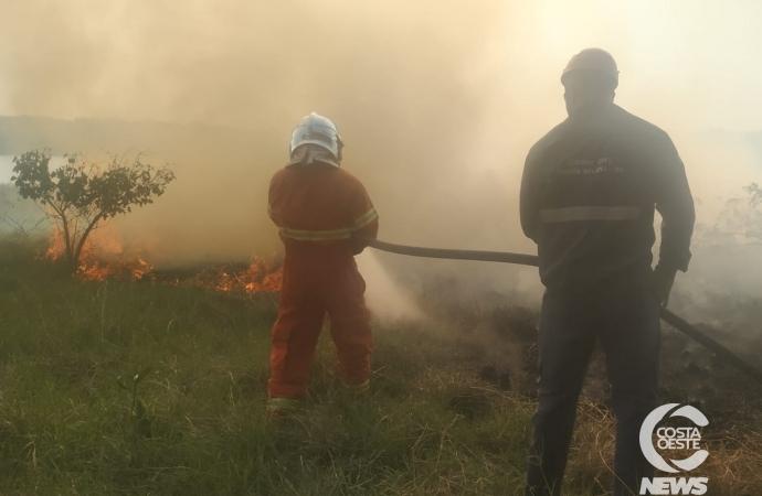 Incêndio de grandes proporções atinge vegetação no balneário de Santa Helena