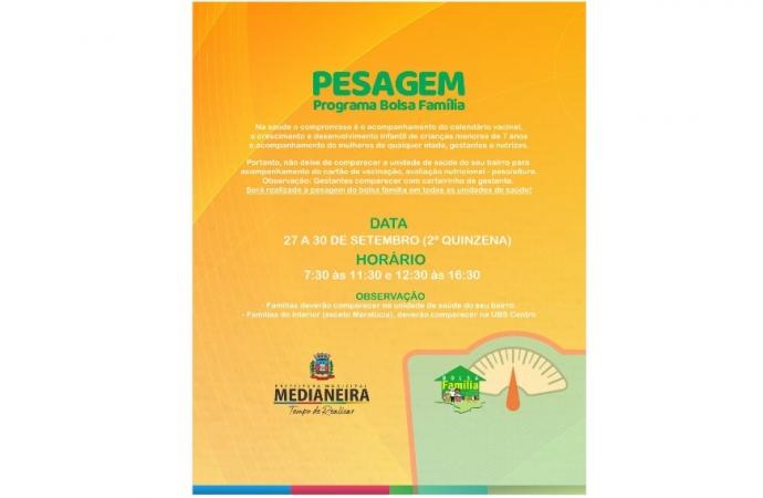 Inicia na segunda-feira (27) a pesagem do Bolsa Família em Medianeira