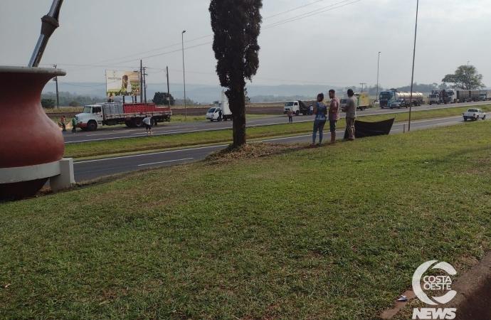 Manifestação dos caminhoneiros pede paralisação do transporte na BR 277