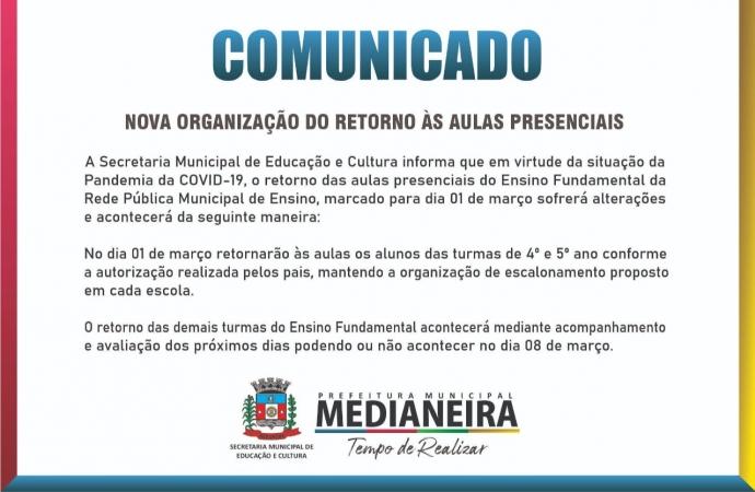 Medianeira: Aulas presenciais do Ensino Fundamental da Rede Pública Municipal sofre alterações
