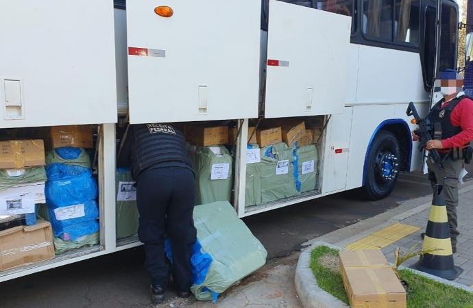 Operação Escudo reteve mais um ônibus carregado de mercadorias