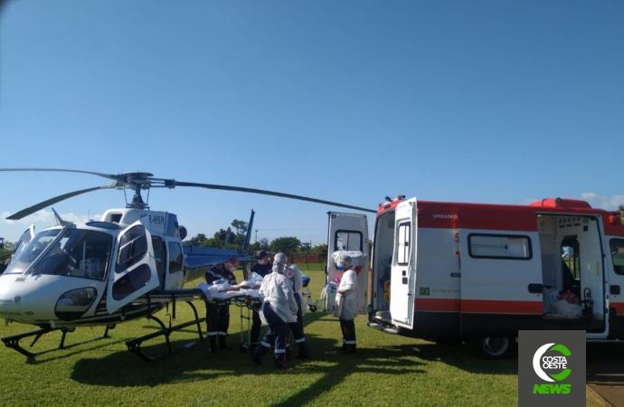 Paciente com suspeita de meningite e AVC é transferido de helicóptero de Santa Helena para Toledo