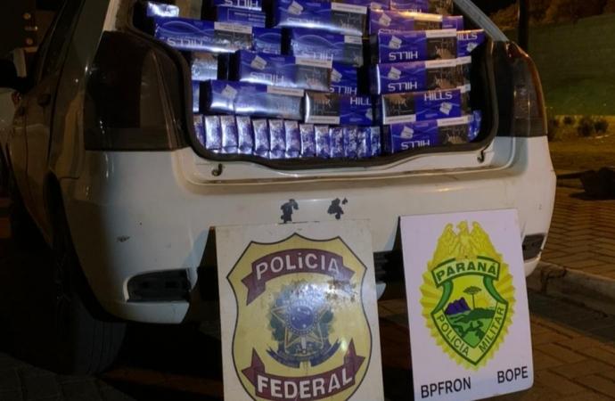 PF, BPFRON e BOPE apreendem veículo carregado com cigarros contrabandeados