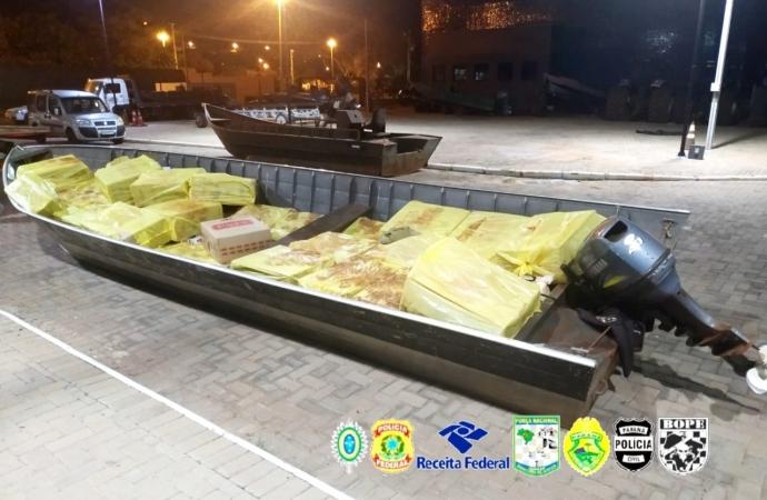 PF, BPFRON e COE apreendem 02 embarcações carregadas com cigarros contrabandeados