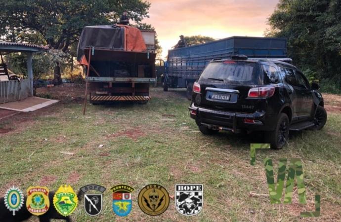 PF e BPFron apreendem caminhões com cigarros contrabandeados em São José das Palmeiras