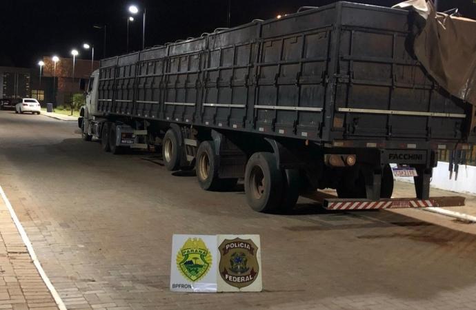 PF e BPFRON realizam nova apreensão de caminhão com carregamento de R$ 1,9 milhões