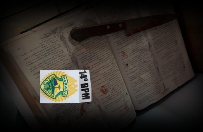 Polícia já possuí informações sobre autor de homicídio em Itaipulândia; faca foi deixada sobre a bíblia