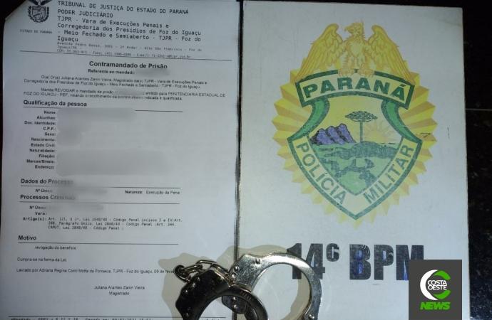 Polícia Militar cumpre mandado de prisão por homicídio em Medianeira