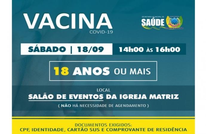 População de 18 anos ou mais será vacinada contra Covid-19 neste sábado (18) em SMI