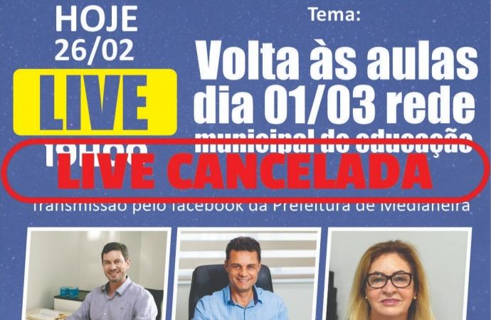 Prefeitura de Medianeira cancela live sobre retorno das aulas nas escolas municipais
