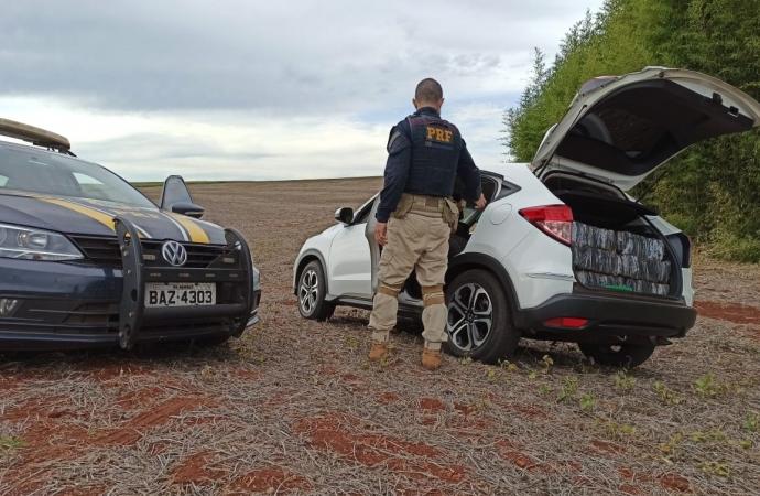 PRF apreende 584 kg de maconha transportados em veiculo roubado