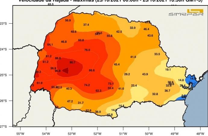 Rajadas de ventos em Santa Helena chegou à 89,3 km/h, maior registro no Paraná, diz Simepar