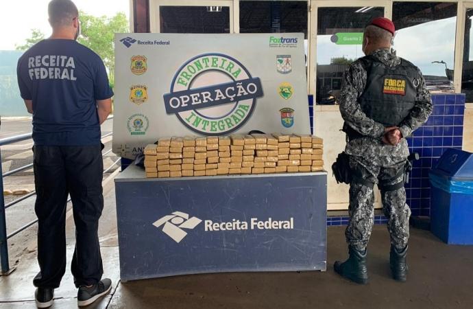 Receita Federal e Força Nacional apreendem 90 quilos de maconha na Ponte Internacional da Amizade