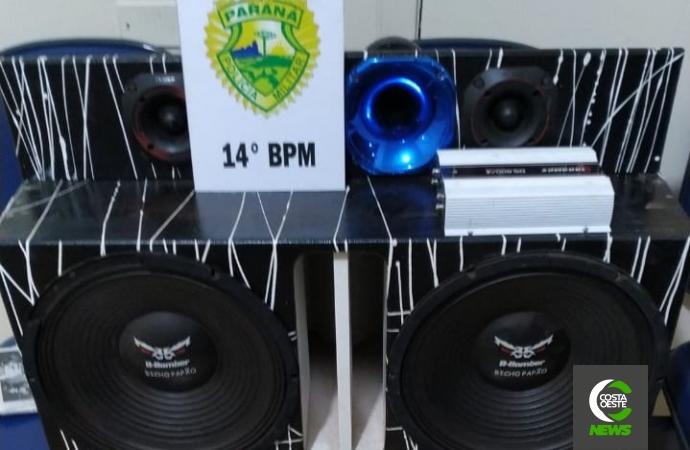 RPA de Serranópolis do Iguaçu apreende aparelho de som após denúncia de perturbação de sossego