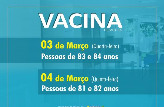 São Miguel do Iguaçu: Idosos de 83 e 84 anos estão sendo vacinados em São Miguel do Iguaçu