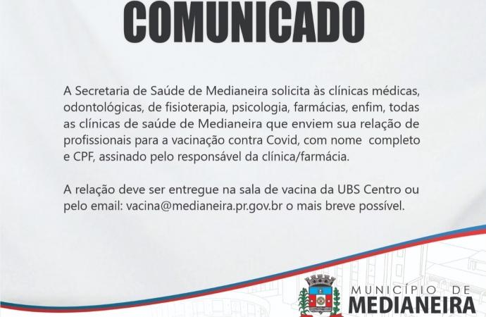 Secretaria de Saúde de Medianeira solicita relação de profissionais de clínicas e farmácias para vacinação contra Covid-19