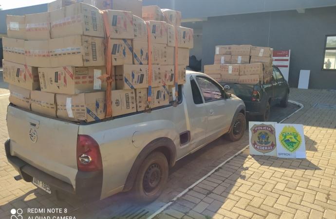 Três carros e dois barcos carregados com cigarros são apreendidos em Guaíra