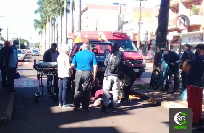 Vítima de atropelamento foi atendida no centro de Medianeira