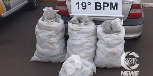 Após tentativa de abordagem em São Pedro, PM apreende 100 kg de maconha em Ouro Verde do Oeste