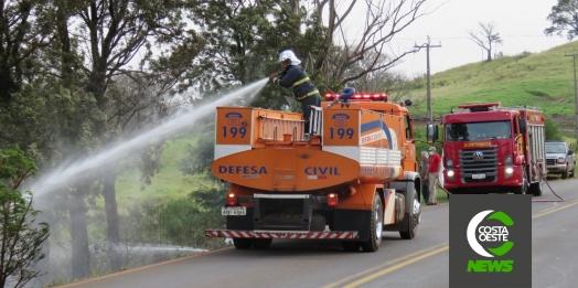 Bombeiros e Defesa Civil são acionados para combater incêndio às margens da PR 488 em Diamante do Oeste