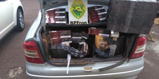 BPFRON apreende cigarros contrabandeados em veículo na cidade de Vera Cruz do Oeste