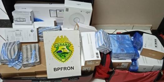 BPFRON apreende eletrônicos e contrabando em ônibus durante Operação Hórus em Medianeira