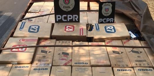 Caminhão carregado com cigarros é apreendido pela Polícia Civil de Guaíra