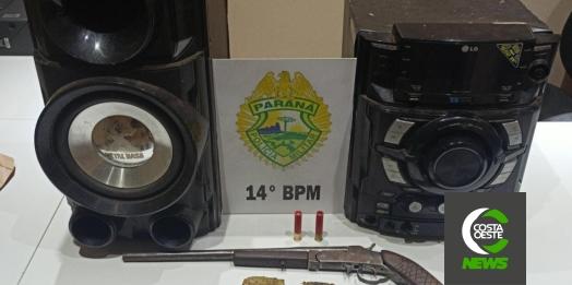 Homem é preso pela PM por perturbação de sossego e posse ilegal de arma de fogo