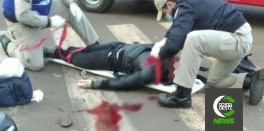 Motociclista fica em estado grave após acidente de trânsito em Medianeira