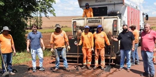 São Miguel do Iguaçu: Nova camada de asfalto vai garantir mais vida útil à estrada da São Lourenço