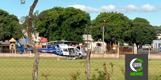 Paciente de Cascavel é transferido para Medianeira com auxílio do helicóptero do Paraná Urgência